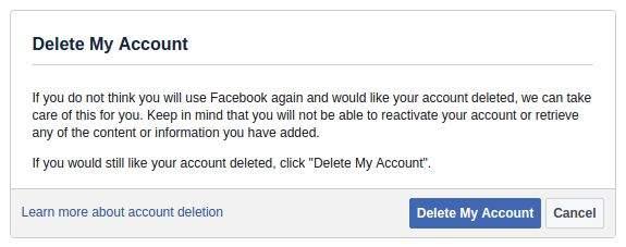 trajno brisanje facebook profila