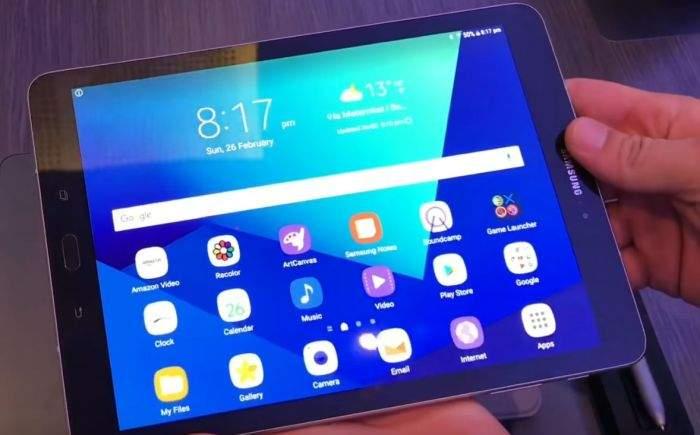 Samsung Galaxy Tab S3 zaslon