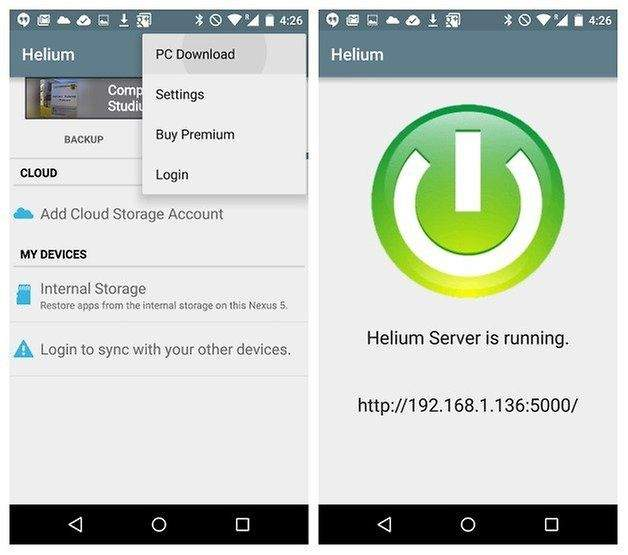 android backup helium