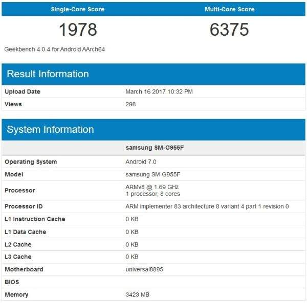 galaxy s8 geekbench