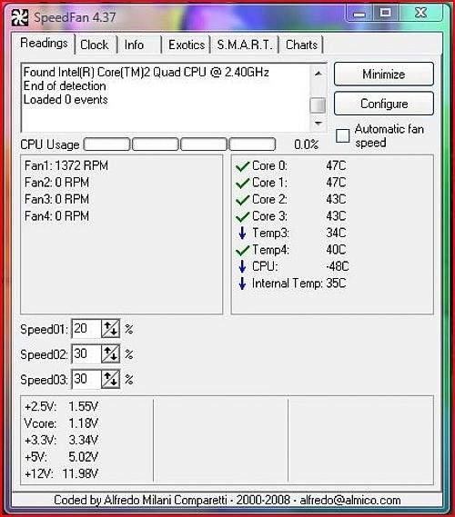 speedfan mjerenje temperature procesora