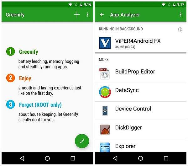 Android Greenify app