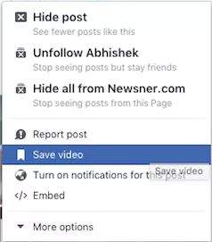 facebook save video za kasnije