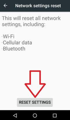 Android Nougat Network reset settings
