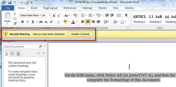 microsoft-word-document zaražen malwareom