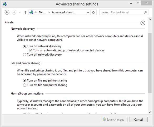 Wi-Fi – Change Advanced Sharing Options – Guest or Public – Turn Off Network Discovery