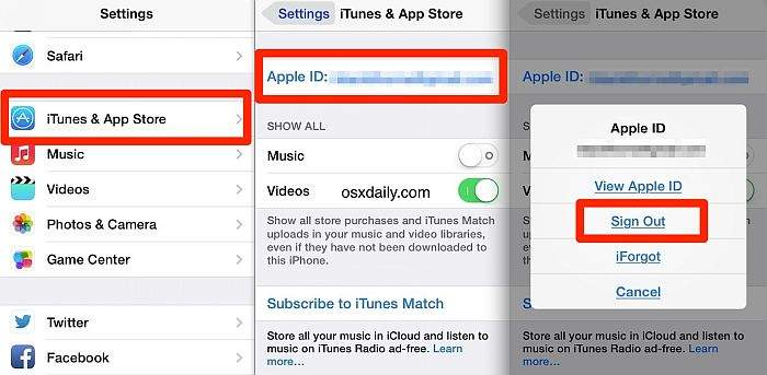 iTunes & Apple Store – Apple ID – Sign Out