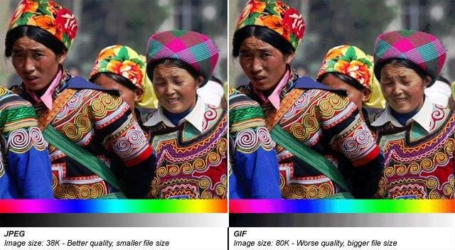 usporedba jpeg i gif slike