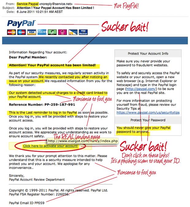 fake paypal email