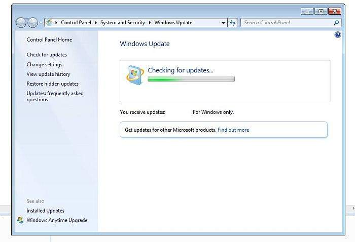 windows 7 check for updates