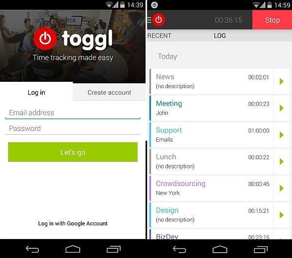 Toggl app