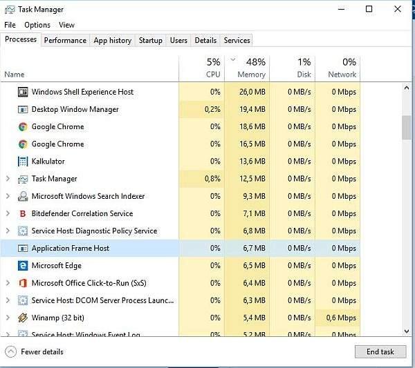 TASK MANAGER Application Frame Host