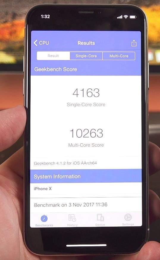 iphone x benchmark performanse