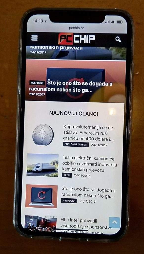 iphone x zaslon test