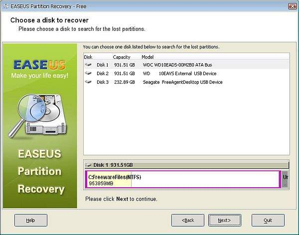 Erase US Partition Recovery Wizard