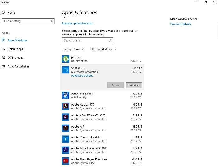 brisanje programa u windowsu