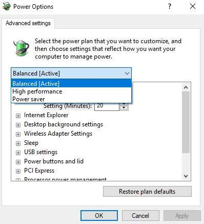 windows power option