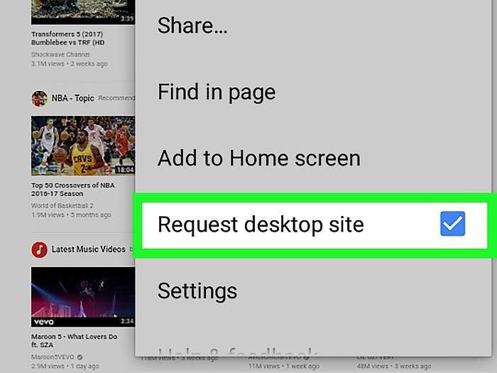 yout tube Request desktop site