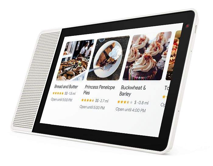 10-inch Lenovo Smart Display showing bakeries nearby