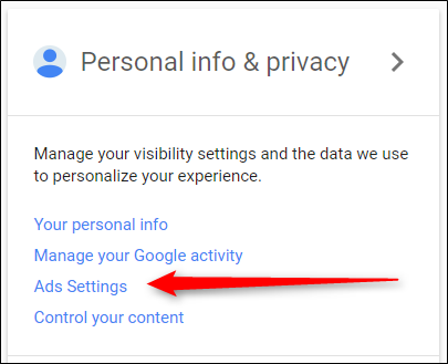 Google – Ads – Opt out of Ads Personalization