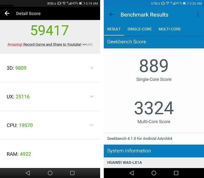 Huawei P10 Lite benchmark test