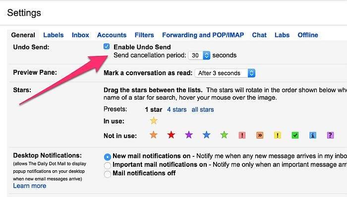 gmail Enable Undo Send