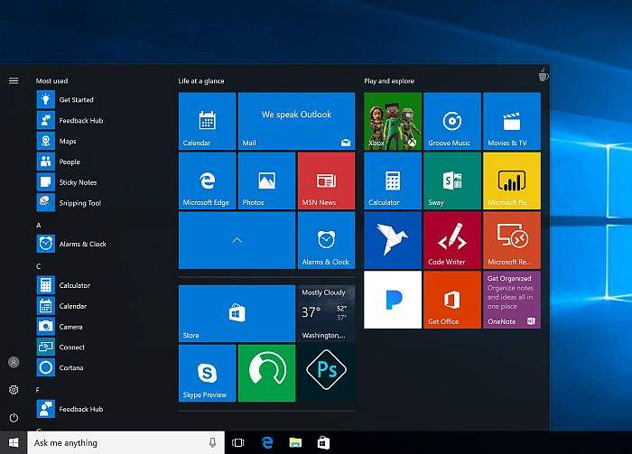 windows-10-start menu