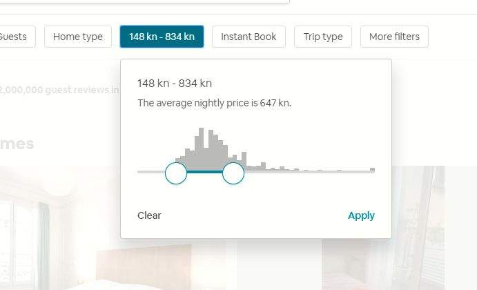 airbnb cijene smještaja