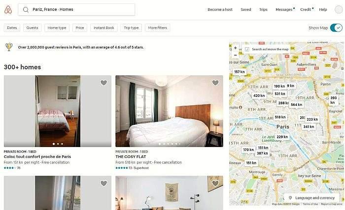 airbnb tražilica