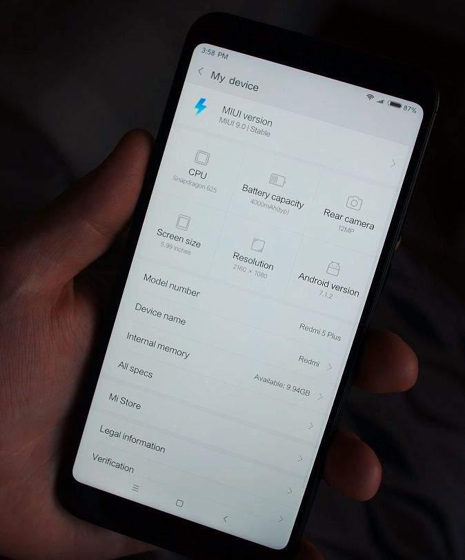 Xiaomi Redmi 5 Plus os