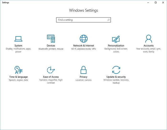 Settings App WINDOWS 10