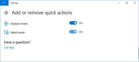 Add or remove quick actions