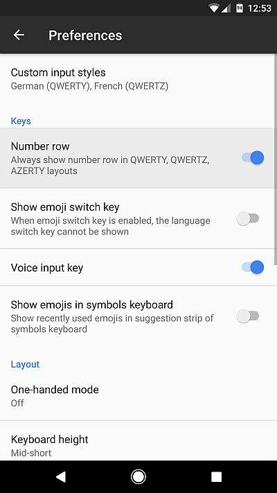Gboard Settings – Preferences – Number row