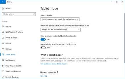 konfiguracija tablet moda