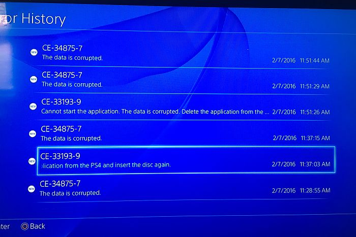 PS4 Corrupted Data tips