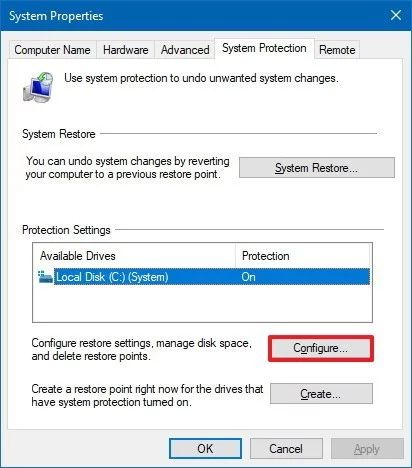Create a system restore point – Configure