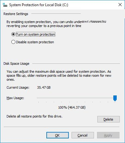 System properties – Protection Settings – Configure