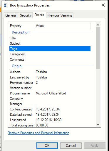 windows 10 dodavanje taga dokumentu