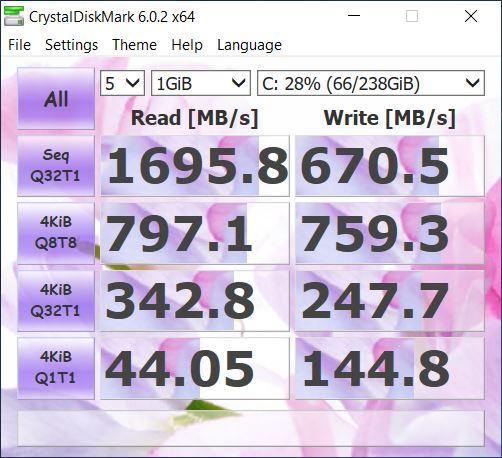ASUS FX505DU christal disk mark 1