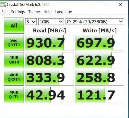 ASUS FX505DU christal disk mark 2