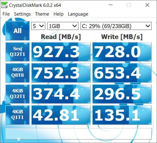 ASUS FX505DU christal disk mark 3