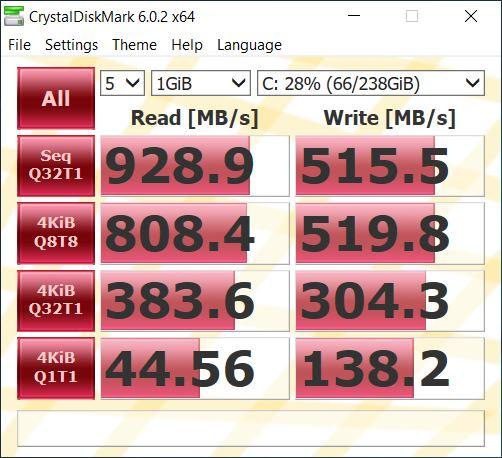 ASUS FX505DU christal disk mark 4