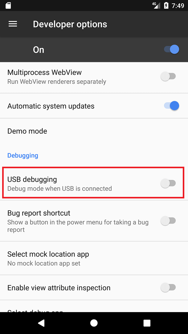 Select USB configuration