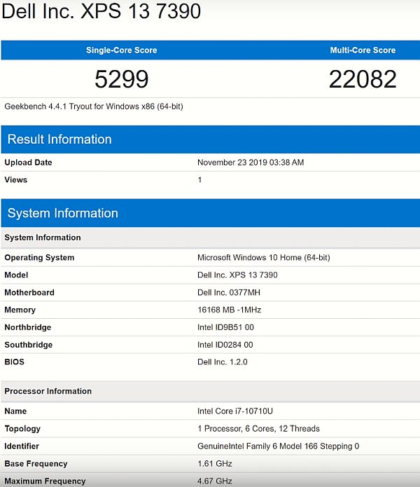 Dell XPS 13 7390 BENCHMARK