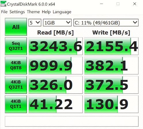 Dell XPS 13 7390 crystal disk mark