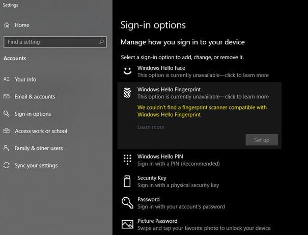 Windows 10 nativno podržava otključavanje računala otiskom prsta