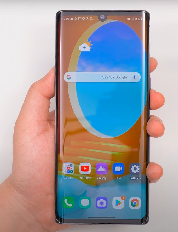 LG Velvet zaslon