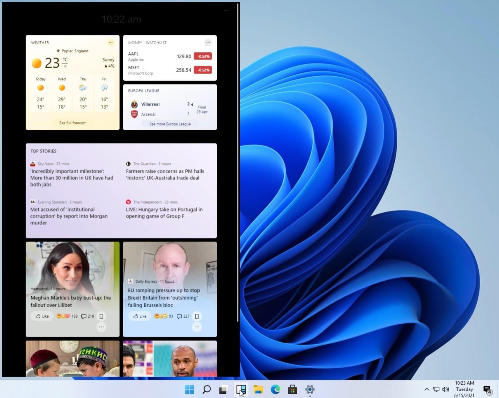 Windows 11 widgeti